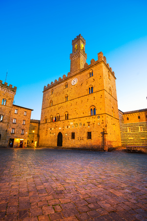 Volterra town central square, medieval palace Palazzo Dei Priori landmark, Pisa state, Tuscany, Italy, Europe