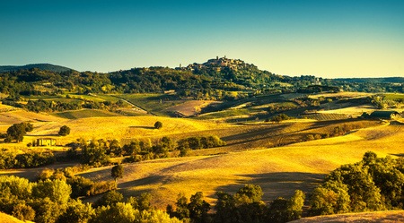 Tuscany summer countryside, Montepulciano italian medieval village and rolling hills. Siena, Italy Europe. Stock Photo