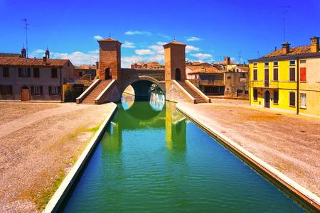 Comacchio, Tre Ponti or Trepponti three way bridge. Ferrara, Emilia Romagna Italy Europe