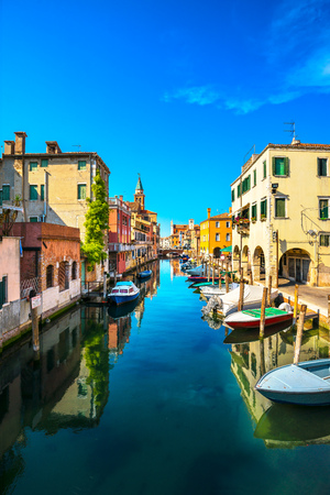 Chioggia town in venetian lagoon, water canal and church. Veneto, Italy, Europe 版權商用圖片