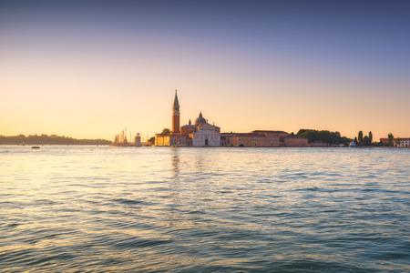 Venice lagoon at sunrise, San Giorgio Maggiore church. Italy, Europe.