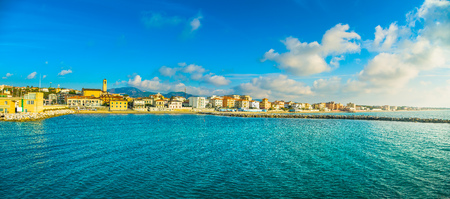 San Vincenzo beach and seafront panoramic view. Sea travel destination, Tuscany, Italy. Stock Photo