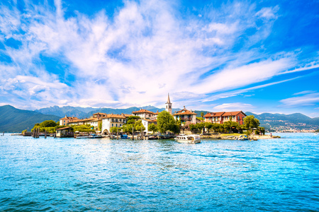 Isola dei Pescatori, fisherman island in Maggiore lake, Borromean Islands, Stresa Piedmont Italy, Europe. Long Exposure. Stock Photo