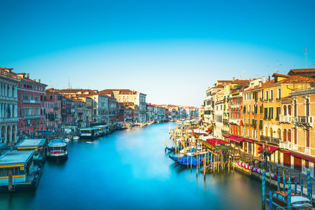Venice grand canal or Canal Grande, view from Rialto bridge. Long Exposure. Italy, Europe Stock Photo