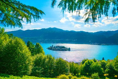 Orta Lake landscape. San Giulio island view from Sacro Monte. Piedmont, Italy, Europe.