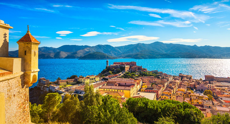 Elba island, Portoferraio aerial view from fort. Lighthouse and fort. Tuscany, Italy, Europe. Archivio Fotografico - 96775293