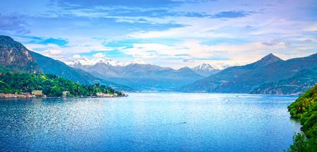 Como Lake panoramic landscape. Lake, Alps and Tremezzo village view from Bellagio road. Italy, Europe.