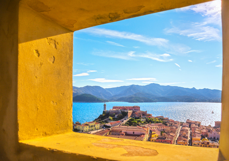 Elba island, Portoferraio aerial view from old window, Lighthouse and fort. Tuscany, Italy, Europe. Archivio Fotografico - 99129194