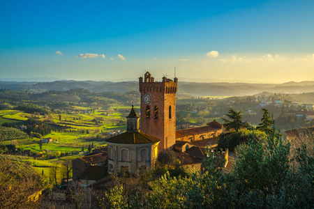 San Miniato town panoramic view, bell tower of the Duomo cathedral and countryside. Pisa, Tuscany Italy Europe.
