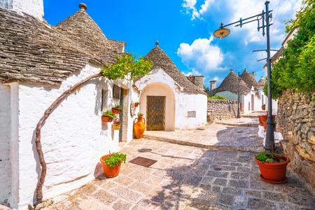 Trulli of Alberobello typical houses street view. Apulia, Italy. Europe. Reklamní fotografie