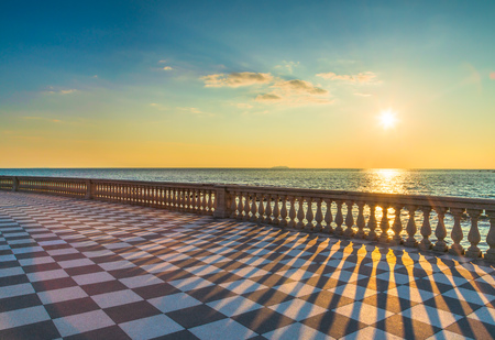 Mascagni Terrazza terrace belvedere seafront at sunset. Livorno Tuscany Italy Europe. 免版税图像
