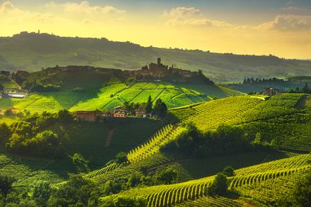 Panorama al tramonto dei vigneti delle Langhe, Castiglione Falletto e La Morra, Piemonte, Nord Italia Europa.