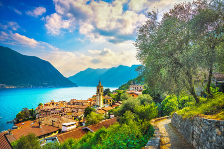 Como Lake, Sala Comacina village and greenway trail. Italy, Europe.