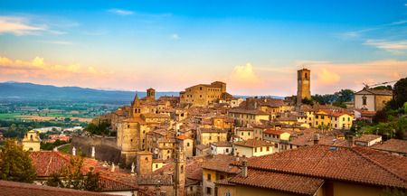 Anghiari italian medieval village panoramic view. Arezzo, Tuscany Italy Europe. Stock Photo