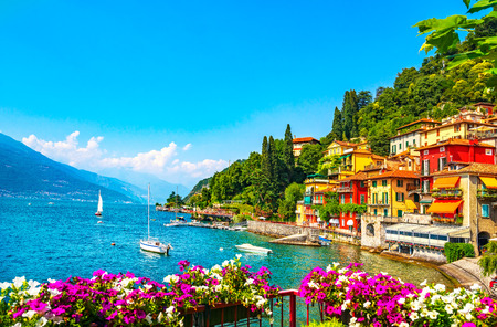 Varenna town in Como lake district. Italian traditional lake village. Italy, Europe. Stok Fotoğraf