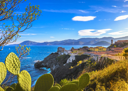 Elba island, Portoferraio aerial view from fort. Lighthouse, fort and cactus indian fig opuntia. Tuscany, Italy, Europe. Archivio Fotografico - 116614398