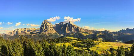 Alpe di Siusi or Seiser Alm, Dolomites Alps Sassolungo and Sassopiatto mountains, Trentino Alto Adige Sud Tyrol, Italy, Europe