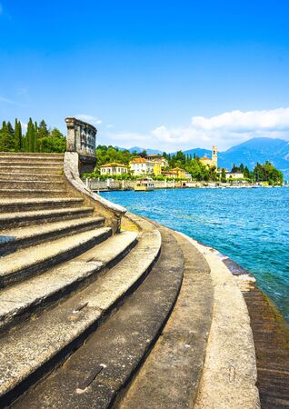 Tremezzo Tremezzina in Como lake district. Italian traditional lake village view and stairs. Italy, Europe.