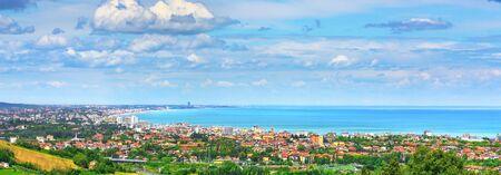 Panoramic view of Romagna coast or Riviera Romagnola, famous beach in Adriatic sea. Cattolica Riccione Italy. Imagens