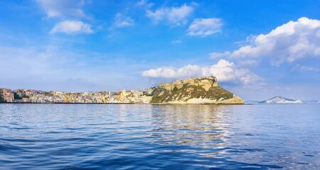 Procida island and village with colorful houses. Travel destination near Naples in Campania, Italy. Europe.