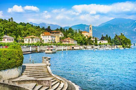 Tremezzo Tremezzina in Como lake district. Italian traditional lake village view and stairs. Italy, Europe.