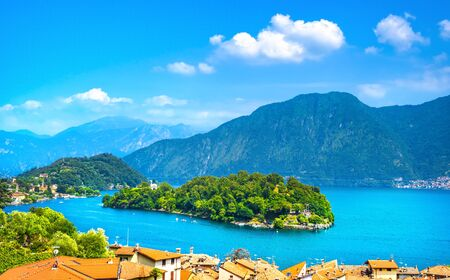 Como Lake, Isola Comacina village and island. Italy, Europe.
