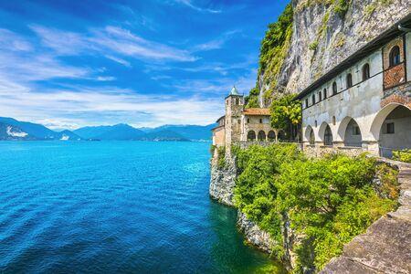 Hermitage or Eremo of Santa Caterina del Sasso medieval roman catholic monastery. Leggiuno Maggiore lake, Lombardy Italy, Europe.
