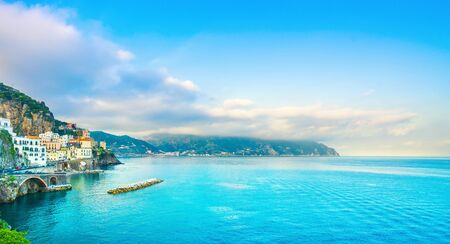 Atrani town in Amalfi coast, panoramic view. Italy, Europe