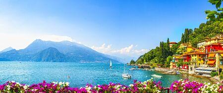 Varenna town in Como lake district. Italian traditional lake village. Italy, Europe. Imagens