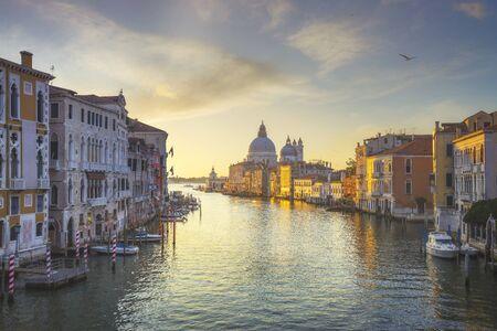 Venice grand canal view, Santa Maria della Salute church landmark at sunrise. Italy, Europe.