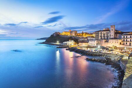 Marina of Piombino blue hour view from piazza bovio. Maremma Tuscany Italy Europe.