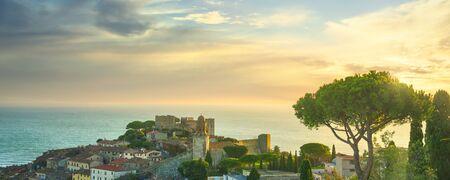 Castiglione della Pescaia, old village and pine tree panoramic view. Maremma, Tuscany, Italy Europe