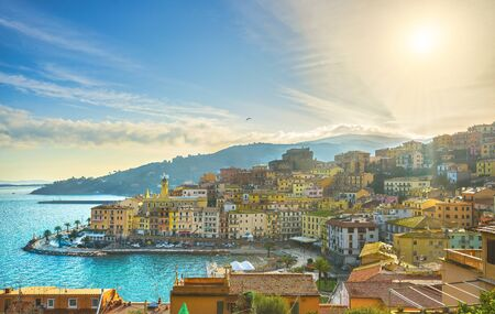 Porto Santo Stefano village, church and castle aerial view, italian travel destination. Monte Argentario, Tuscany, Italy.