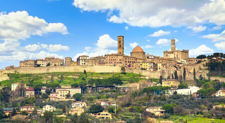 Tuscany, Volterra town skyline, church and Priori palace. Italy, Europe