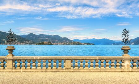 Maggiore lake and Pallanza Verbania from Isola Bella terrace, Borromean Islands, Stresa Piedmont Italy, Europe.