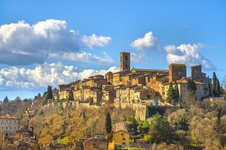 Colle Val d'Elsa town skyline, church and panoramic view. City of crystal glass. Siena, Tuscany, Italy.