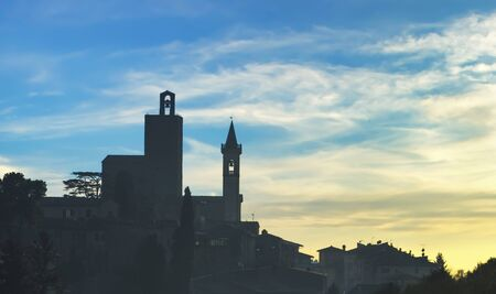 Vinci village, Leonardo birthplace, skyline silhouette at sunset. Florence, Tuscany Italy Europe