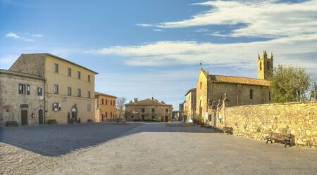 Main square in Monteriggioni medieval fortified on the route of the via francigena, Siena, Tuscany. Italy Europe.