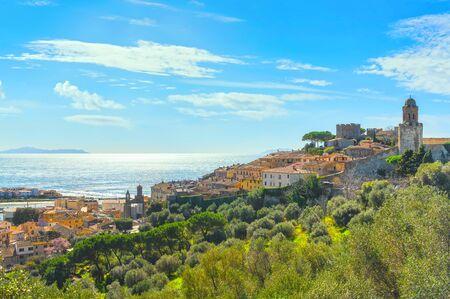 Castiglione della Pescaia, old village and olive trees. Maremma, Tuscany, Italy Europe