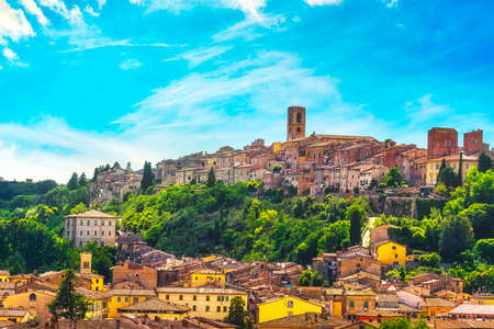 Colle Val d'Elsa town skyline panoramic view. City of crystal glass. Siena, Tuscany, Italy.