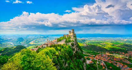 San Marino Republic, medieval Guaita first tower on a rocky cliff and panoramic view of Romagna