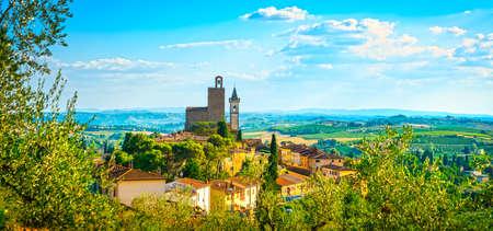 Vinci panoramic view, Leonardo birthplace, village skyline. Florence, Tuscany Italy Europe.
