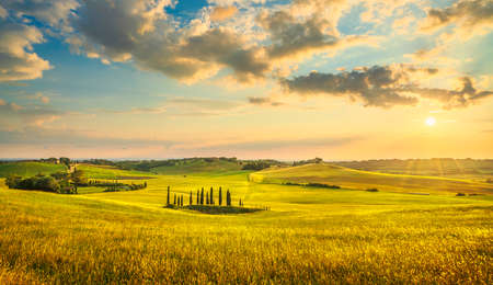 Sunset landscape in Maremma countryside. Rolling hills and cypress trees. Bibbona. Tuscany, Italy, Europe 스톡 콘텐츠