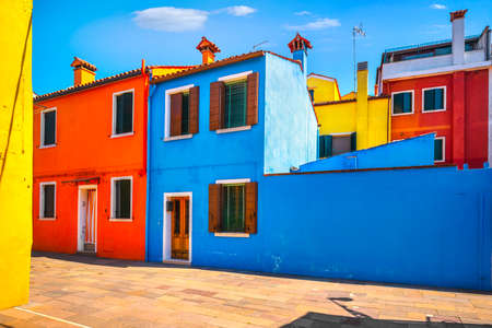 Burano island, street and colorful houses. Venice, Italy, Europe.