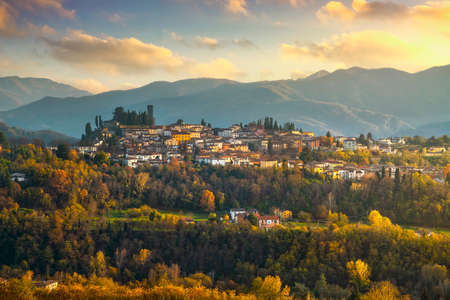 Barga medieval village at sunset in autumn. Garfagnana, Tuscany, Italy Europe