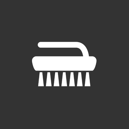 Brush icon, stock vector, isolated on black