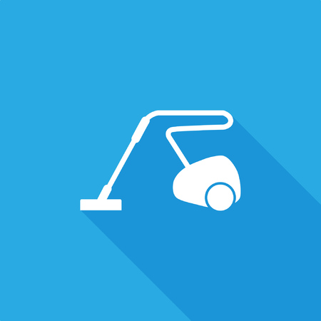 Vacuum cleaner icon with shadow on blue background, stock vector illustration. Stock Illustratie