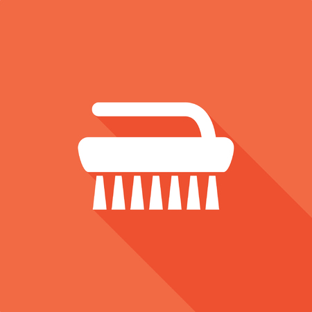 Brush icon with shadow on red background, stock vector illustration. 일러스트