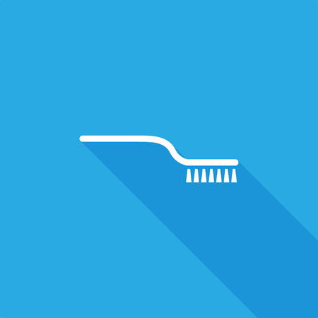 Brush icon with shadow on blue background, stock vector illustration.