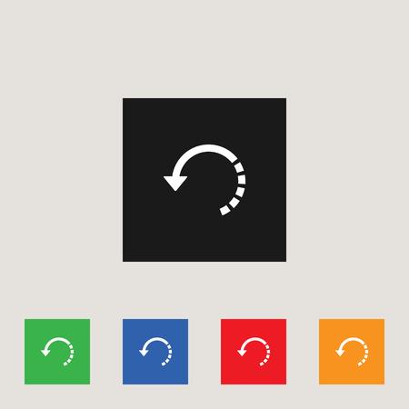 Circular arrow icon in multi-color square, stock vector illustration.